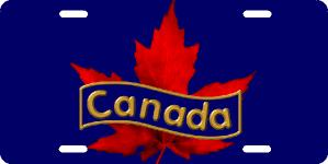 Maple Leaf Blue Licence Plates