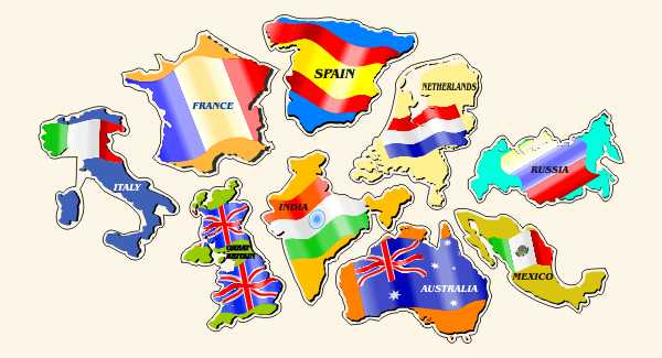 Country Map Flags Decals/Bumper Stickers/Labels. Click for pricing & designs